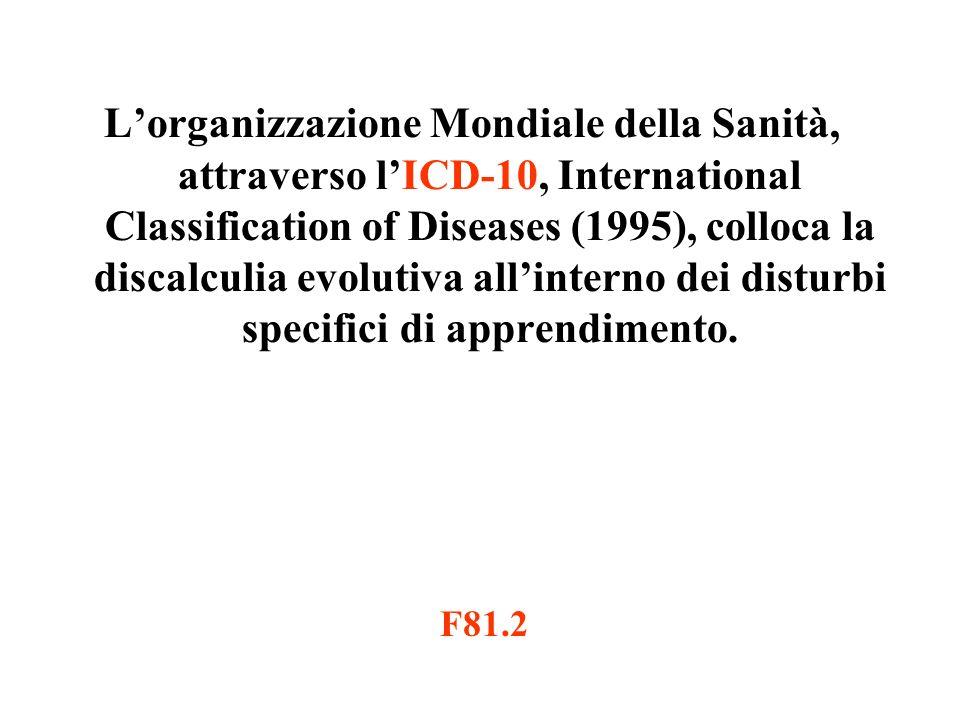 Lorganizzazione Mondiale della Sanità, attraverso lICD-10, International Classification of Diseases (1995), colloca la discalculia evolutiva allinterno dei disturbi specifici di apprendimento.