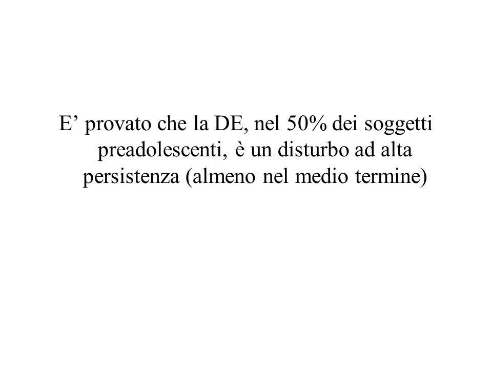 E provato che la DE, nel 50% dei soggetti preadolescenti, è un disturbo ad alta persistenza (almeno nel medio termine)