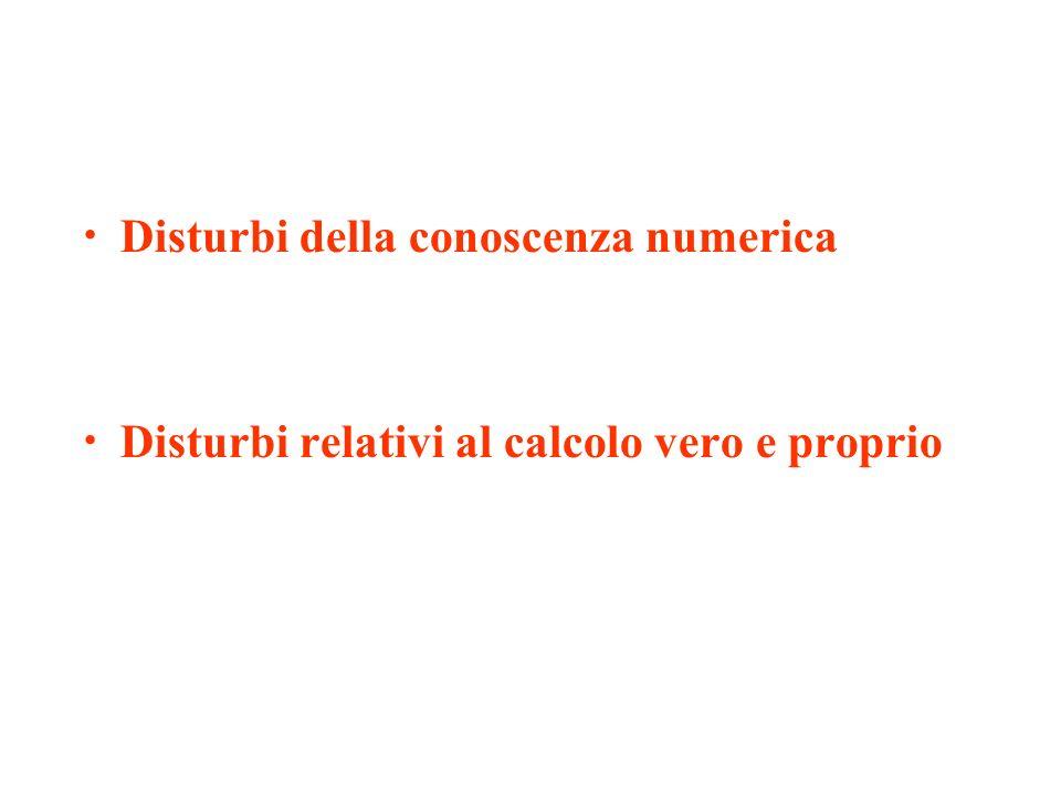 Disturbi della conoscenza numerica Disturbi relativi al calcolo vero e proprio