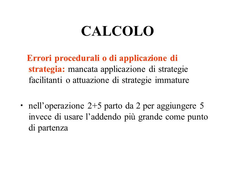 CALCOLO Errori procedurali o di applicazione di strategia: mancata applicazione di strategie facilitanti o attuazione di strategie immature nelloperazione 2+5 parto da 2 per aggiungere 5 invece di usare laddendo più grande come punto di partenza