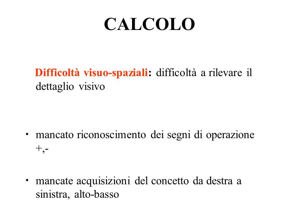 CALCOLO Difficoltà visuo-spaziali: difficoltà a rilevare il dettaglio visivo mancato riconoscimento dei segni di operazione +,- mancate acquisizioni del concetto da destra a sinistra, alto-basso