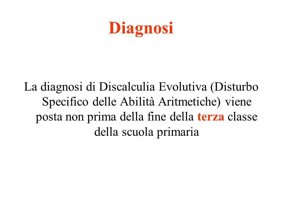 Diagnosi La diagnosi di Discalculia Evolutiva (Disturbo Specifico delle Abilità Aritmetiche) viene posta non prima della fine della terza classe della scuola primaria