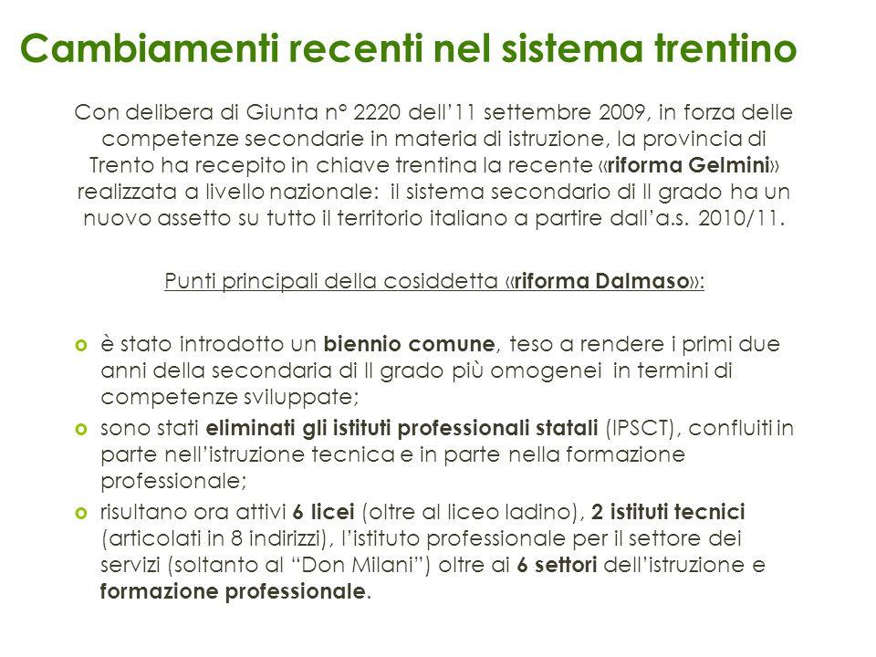 Cambiamenti recenti nel sistema trentino Con delibera di Giunta n° 2220 dell11 settembre 2009, in forza delle competenze secondarie in materia di istr
