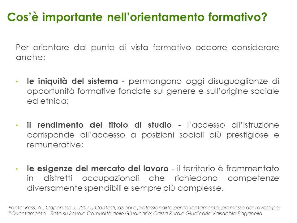 Fonte: Ress, A., Caporusso, L. (2011) Contesti, azioni e professionalità per lorientamento, promosso da: Tavolo per lOrientamento – Rete su Scuole Com