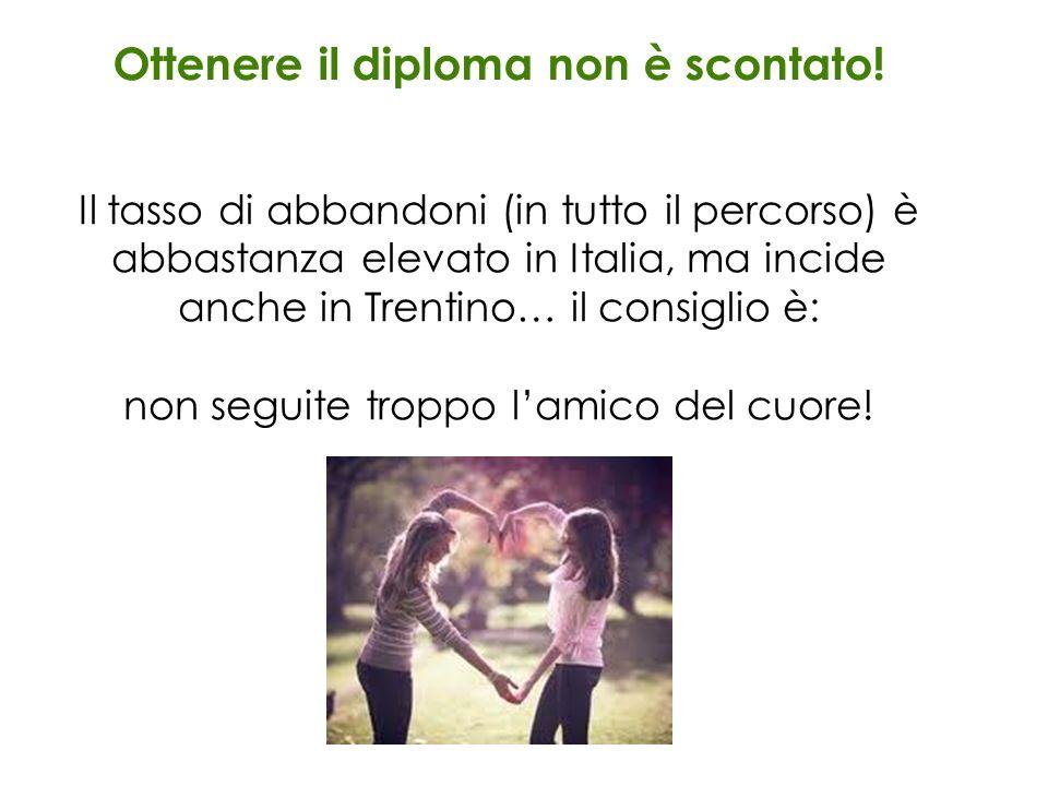 Ottenere il diploma non è scontato! Il tasso di abbandoni (in tutto il percorso) è abbastanza elevato in Italia, ma incide anche in Trentino… il consi