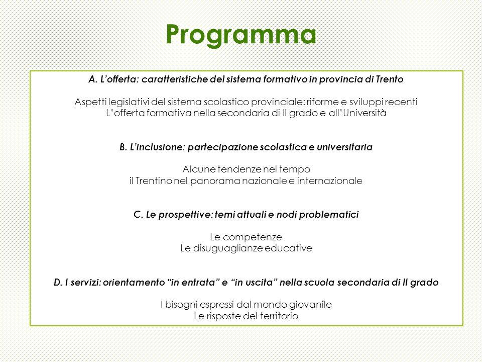 Programma A. Lofferta: caratteristiche del sistema formativo in provincia di Trento Aspetti legislativi del sistema scolastico provinciale: riforme e