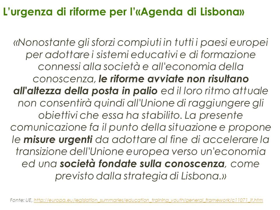 Lurgenza di riforme per l«Agenda di Lisbona» «Nonostante gli sforzi compiuti in tutti i paesi europei per adottare i sistemi educativi e di formazione