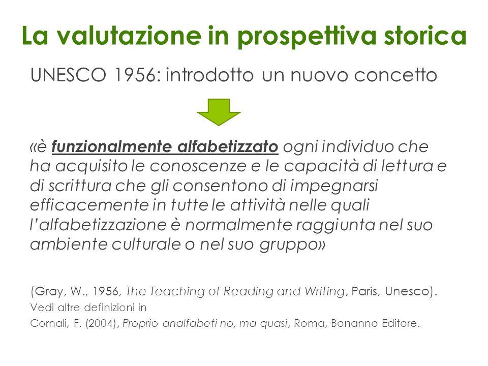 La valutazione in prospettiva storica UNESCO 1956: introdotto un nuovo concetto «è funzionalmente alfabetizzato ogni individuo che ha acquisito le con
