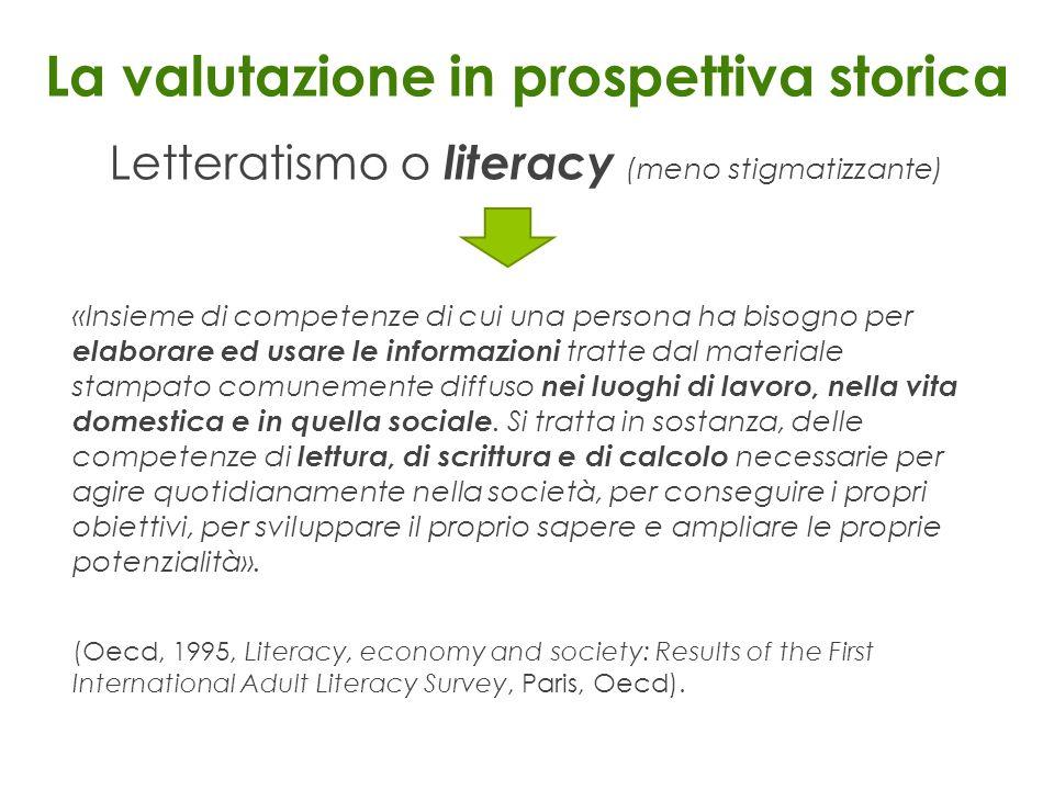 La valutazione in prospettiva storica Letteratismo o literacy (meno stigmatizzante) «Insieme di competenze di cui una persona ha bisogno per elaborare