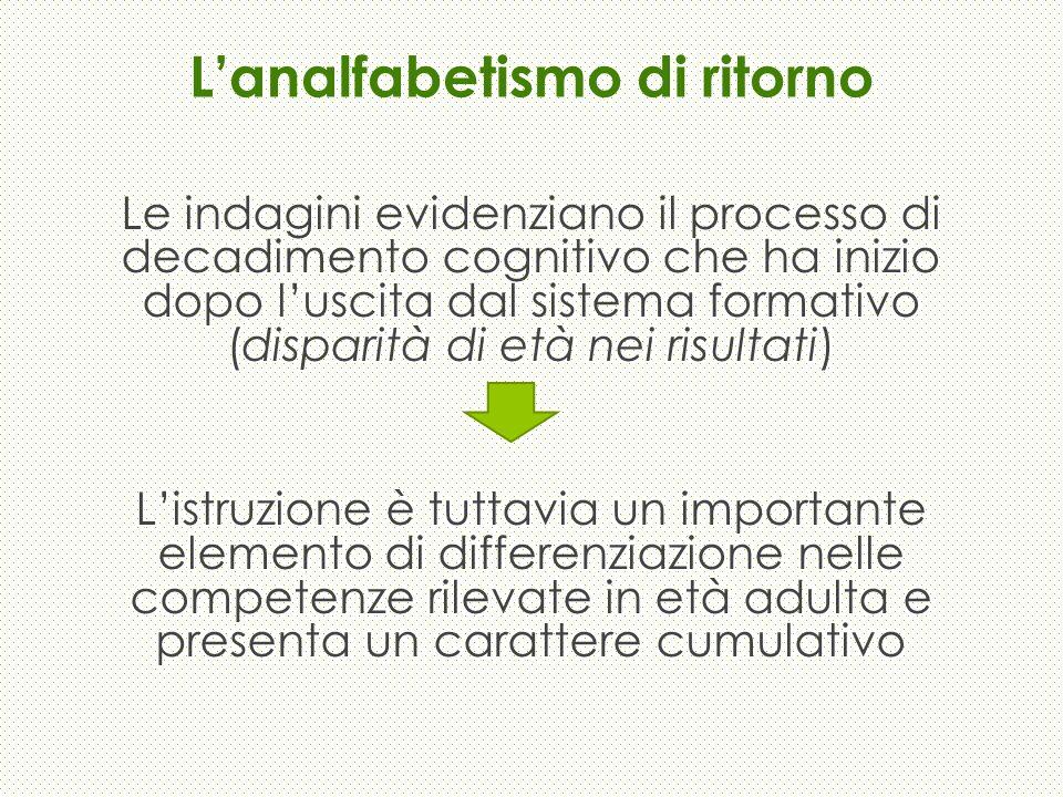 Lanalfabetismo di ritorno Le indagini evidenziano il processo di decadimento cognitivo che ha inizio dopo luscita dal sistema formativo (disparità di