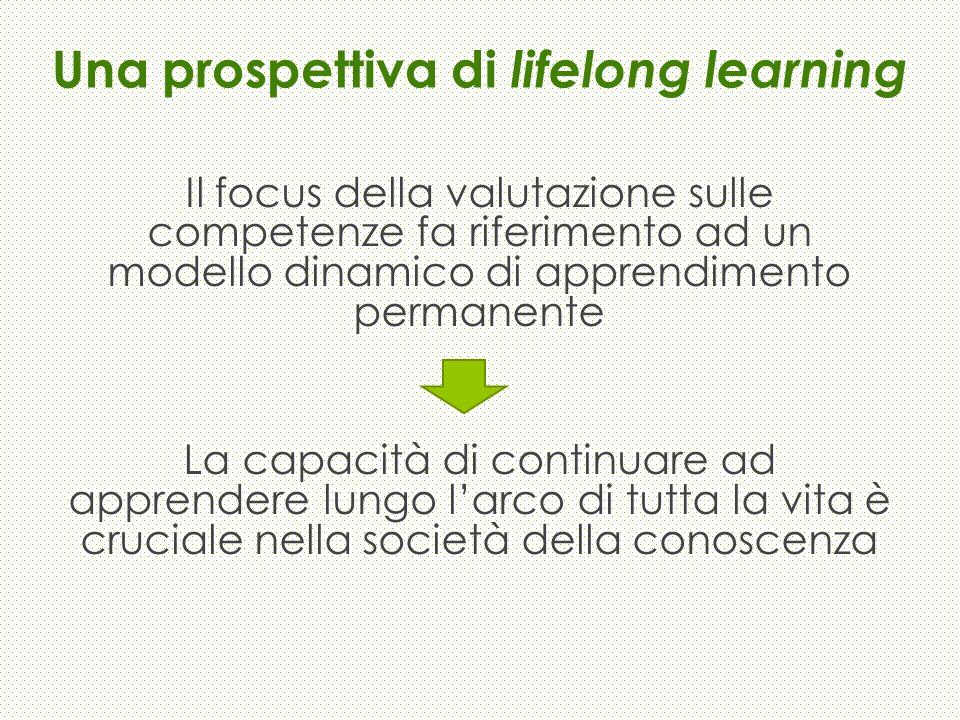 Una prospettiva di lifelong learning Il focus della valutazione sulle competenze fa riferimento ad un modello dinamico di apprendimento permanente La