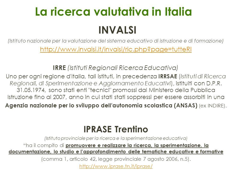 La ricerca valutativa in Italia INVALSI (Istituto nazionale per la valutazione del sistema educativo di istruzione e di formazione) http://www.invalsi