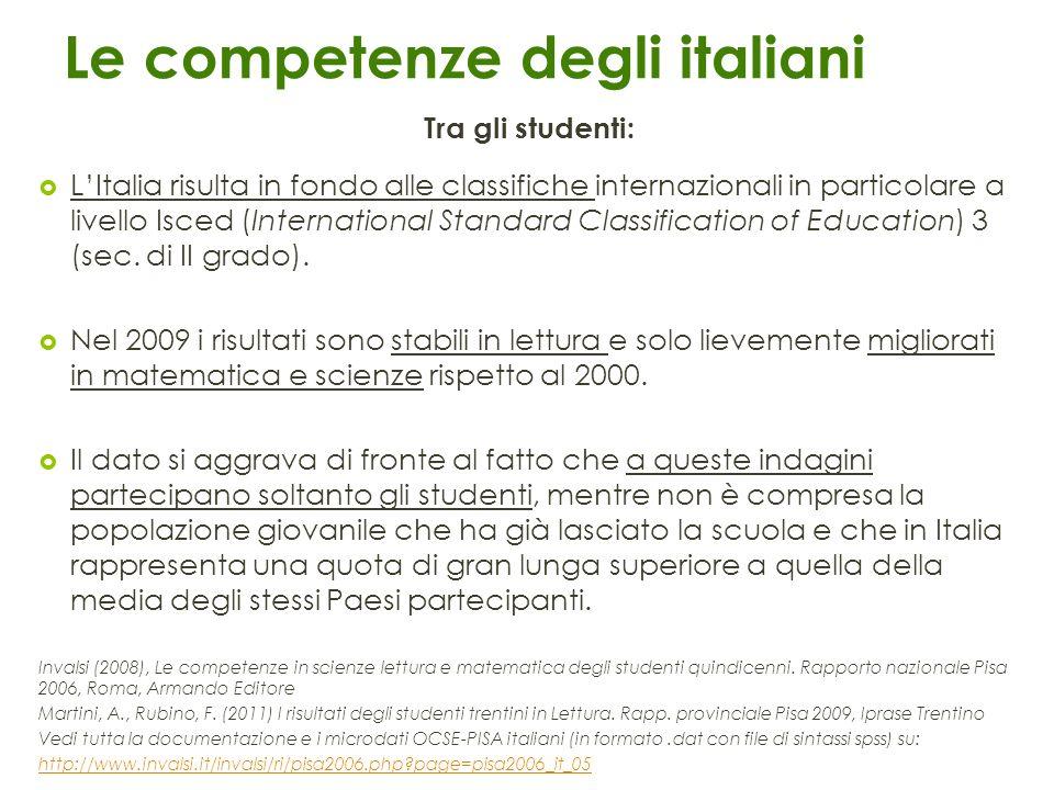 Le competenze degli italiani Tra gli studenti: LItalia risulta in fondo alle classifiche internazionali in particolare a livello Isced (International