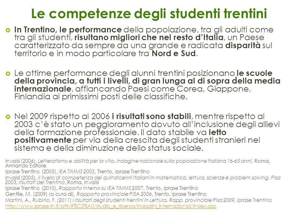 Le competenze degli studenti trentini In Trentino, le performance della popolazione, tra gli adulti come tra gli studenti, risultano migliori che nel