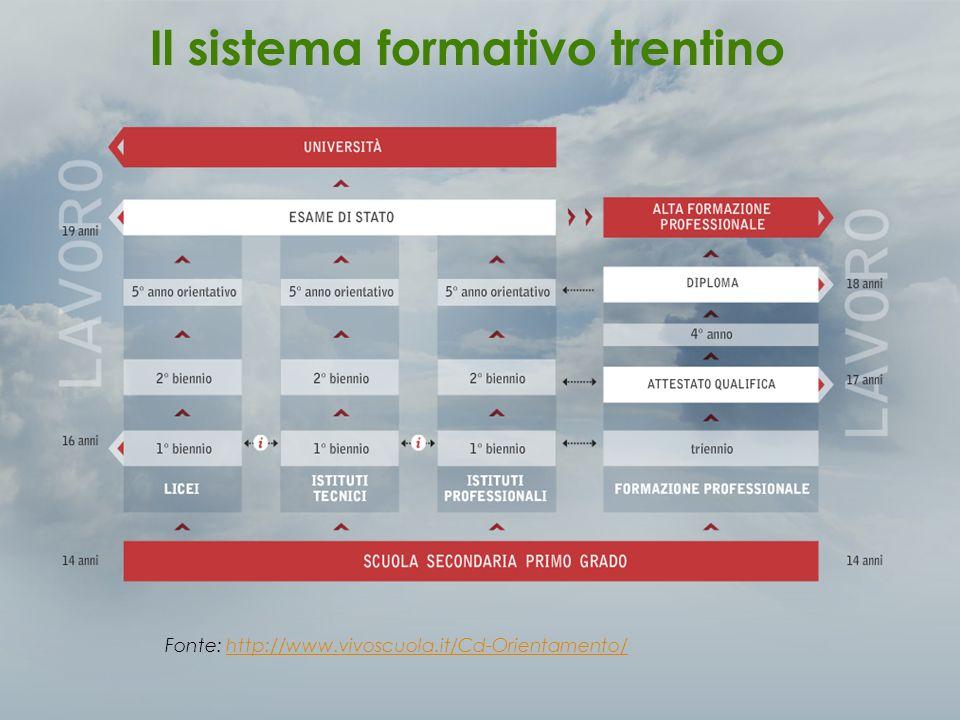 Fonte: Rielaborazioni su dati Rapporto 2010 CPVSE (Anagrafe Unica degli Studenti – Provincia Autonoma di Trento) Scolarità in Trentino
