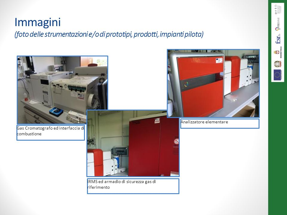 Immagini (foto delle strumentazioni e/o di prototipi, prodotti, impianti pilota) Gas Cromatografo ed interfaccia di combustione IRMS ed armadio di sicurezza gas di riferimento Analizzatore elementare
