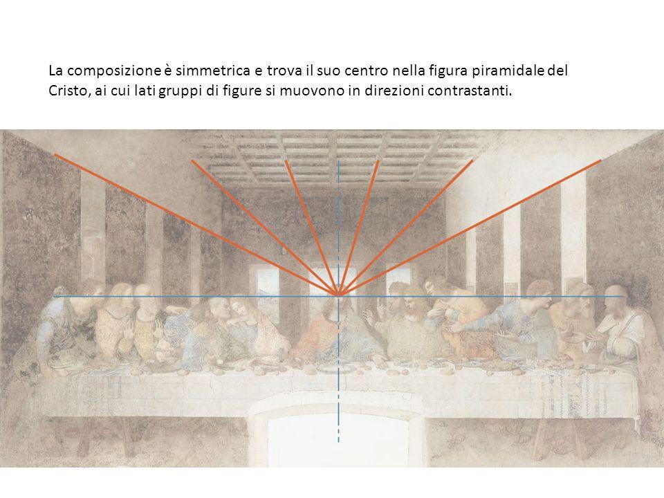 La composizione è simmetrica e trova il suo centro nella figura piramidale del Cristo, ai cui lati gruppi di figure si muovono in direzioni contrastan
