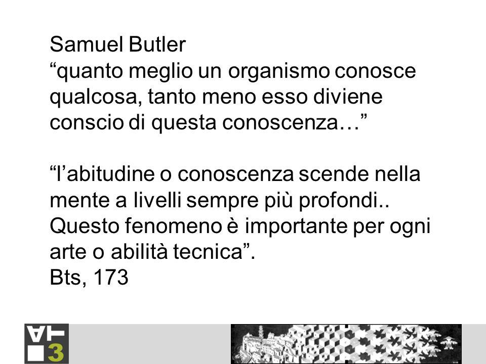 Samuel Butler quanto meglio un organismo conosce qualcosa, tanto meno esso diviene conscio di questa conoscenza… labitudine o conoscenza scende nella mente a livelli sempre più profondi..