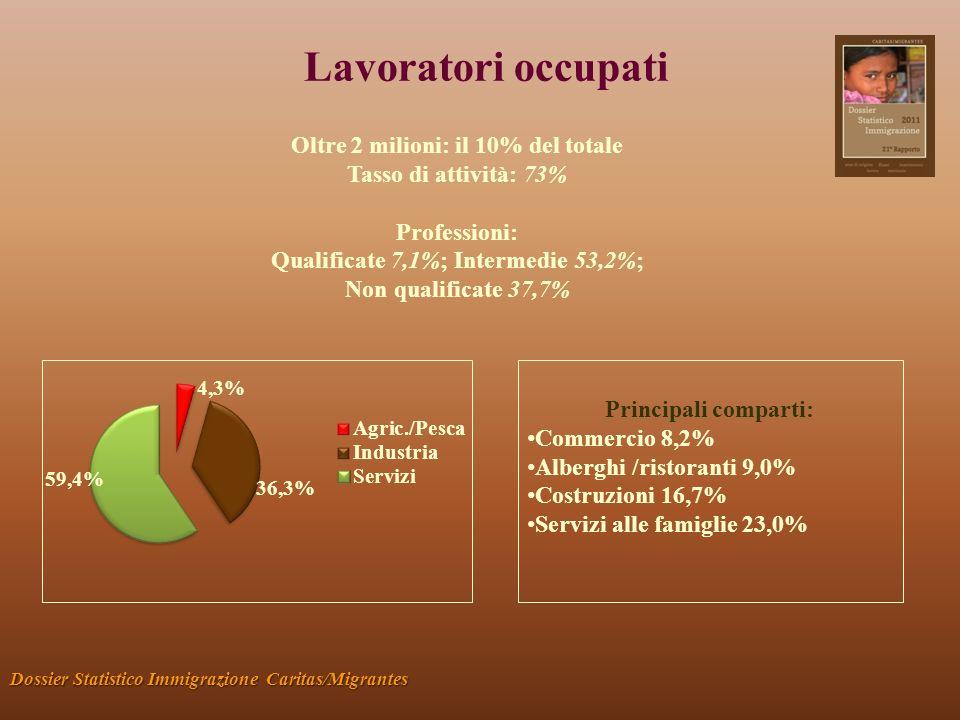 Lavoratori occupati Dossier Statistico Immigrazione Caritas/Migrantes Oltre 2 milioni: il 10% del totale Tasso di attività: 73% Professioni: Qualifica