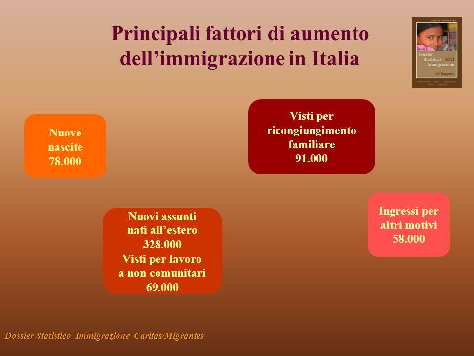 Principali fattori di aumento dellimmigrazione in Italia Dossier Statistico Immigrazione Caritas/Migrantes Nuove nascite 78.000 Nuovi assunti nati allestero 328.000 Visti per lavoro a non comunitari 69.000 Visti per ricongiungimento familiare 91.000 Ingressi per altri motivi 58.000