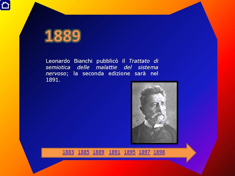 Leonardo Bianchi pubblicò il Trattato di semiotica delle malattie del sistema nervoso; la seconda edizione sarà nel 1891. 1883188518891891189518971898
