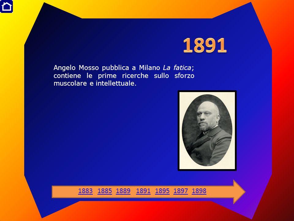 Angelo Mosso pubblica a Milano La fatica; contiene le prime ricerche sullo sforzo muscolare e intellettuale. 1883188518891891189518971898