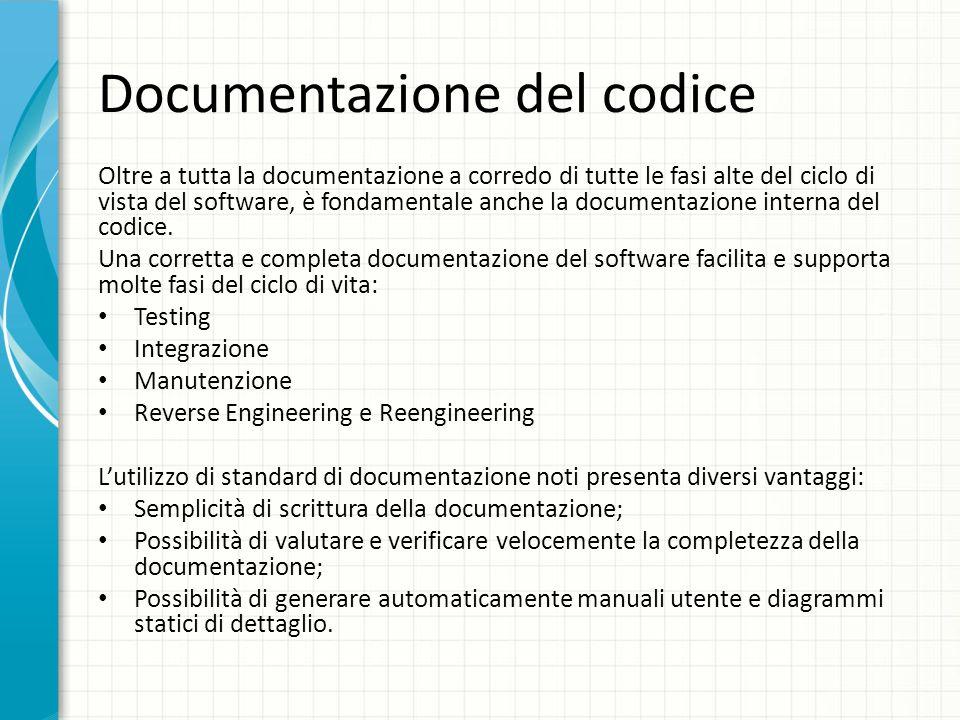 Documentazione del codice Oltre a tutta la documentazione a corredo di tutte le fasi alte del ciclo di vista del software, è fondamentale anche la doc