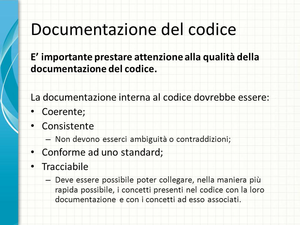 Documentazione del codice E importante prestare attenzione alla qualità della documentazione del codice. La documentazione interna al codice dovrebbe