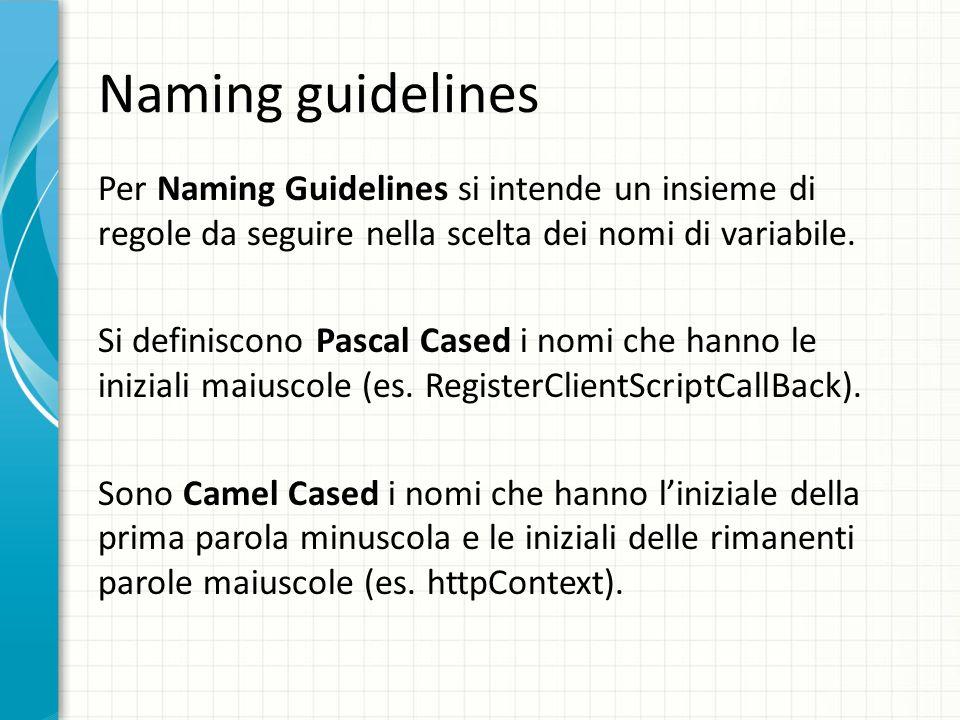 Naming guidelines Per Naming Guidelines si intende un insieme di regole da seguire nella scelta dei nomi di variabile. Si definiscono Pascal Cased i n