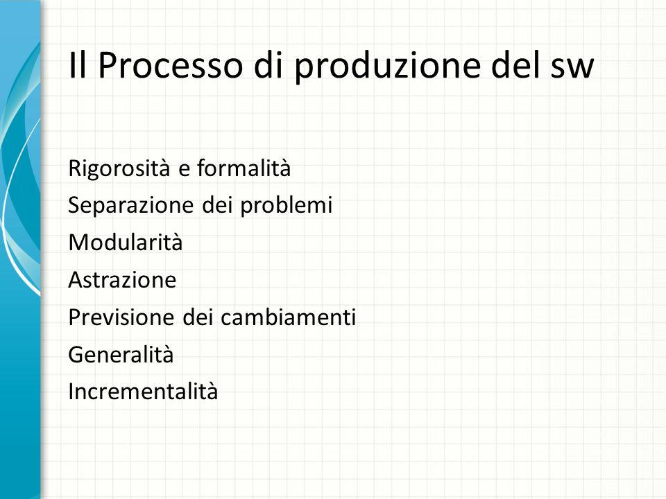 Il Processo di produzione del sw Rigorosità e formalità Separazione dei problemi Modularità Astrazione Previsione dei cambiamenti Generalità Increment