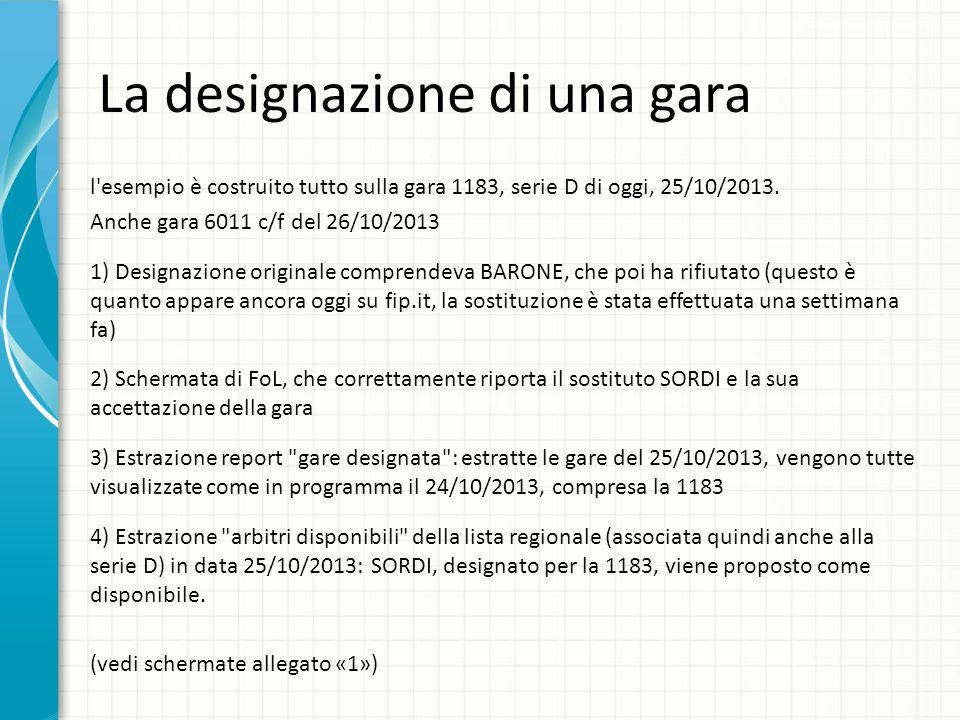 La designazione di una gara l'esempio è costruito tutto sulla gara 1183, serie D di oggi, 25/10/2013. Anche gara 6011 c/f del 26/10/2013 1) Designazio
