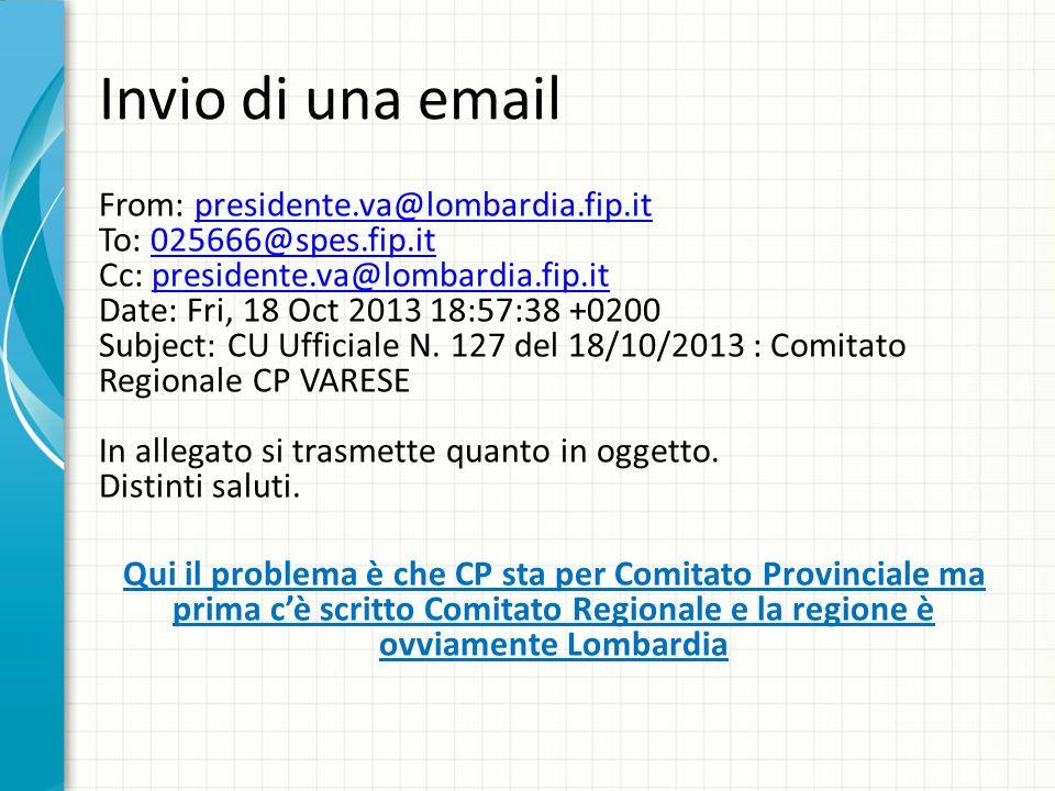 Invio di una email From: presidente.va@lombardia.fip.it To: 025666@spes.fip.it Cc: presidente.va@lombardia.fip.it Date: Fri, 18 Oct 2013 18:57:38 +020