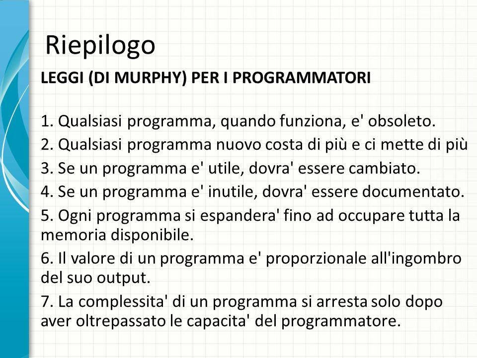 Riepilogo LEGGI (DI MURPHY) PER I PROGRAMMATORI 1. Qualsiasi programma, quando funziona, e' obsoleto. 2. Qualsiasi programma nuovo costa di più e ci m