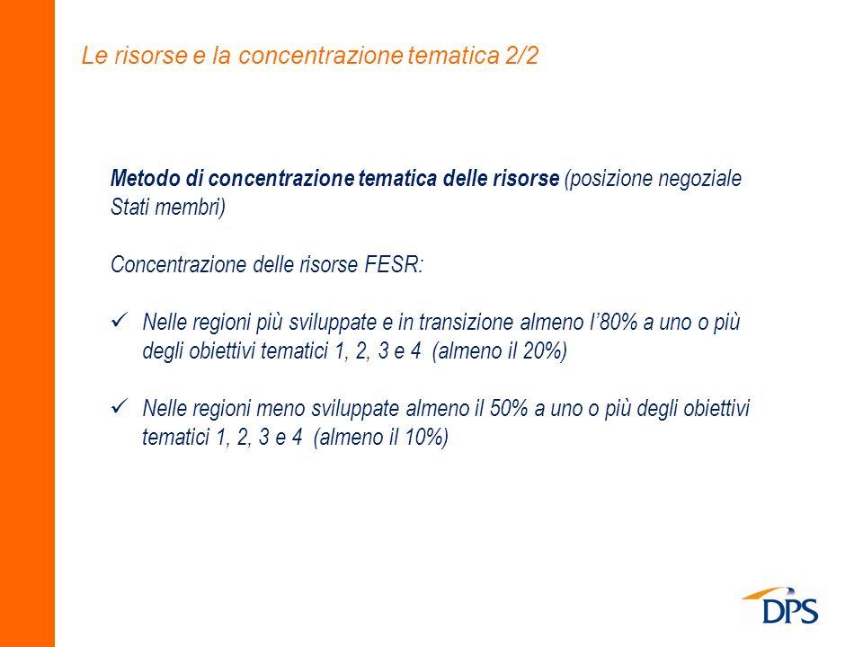 Le risorse e la concentrazione tematica 2/2 Metodo di concentrazione tematica delle risorse (posizione negoziale Stati membri) Concentrazione delle ri