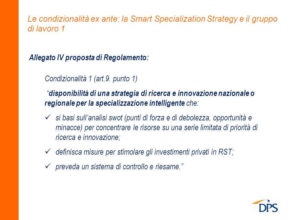 Le condizionalità ex ante: la Smart Specialization Strategy e il gruppo di lavoro 1 Allegato IV proposta di Regolamento: Condizionalità 1 (art.9. punt