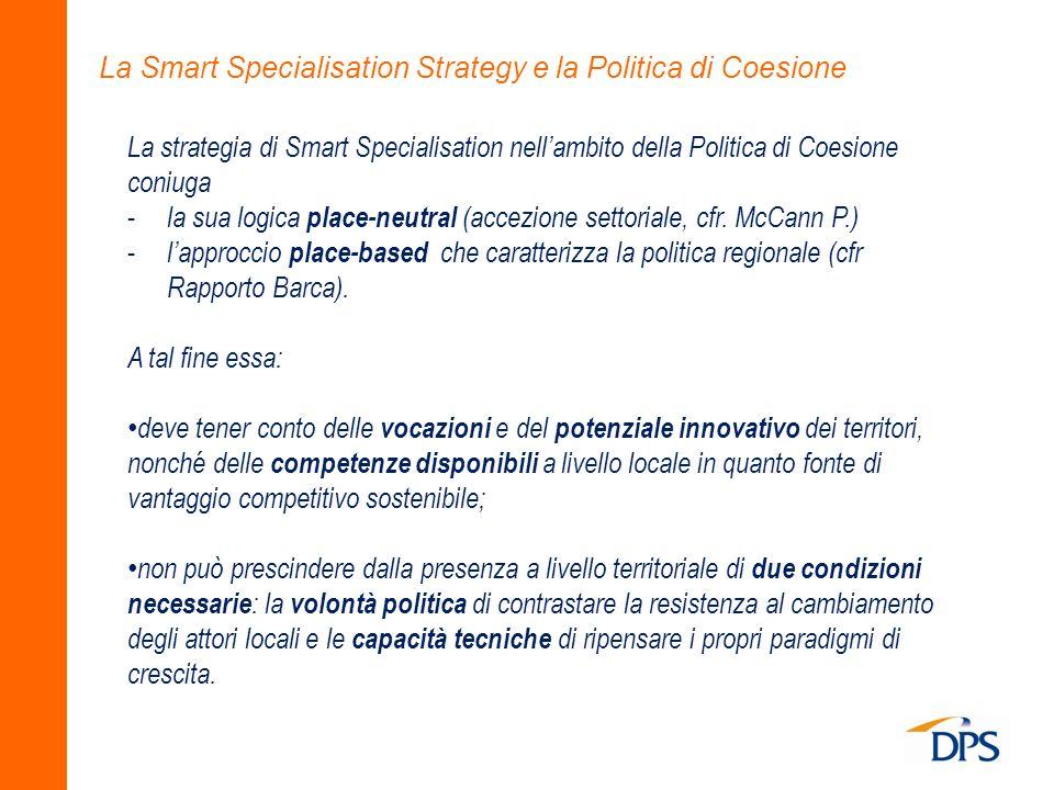 La Smart Specialisation Strategy e la Politica di Coesione La strategia di Smart Specialisation nellambito della Politica di Coesione coniuga - la sua