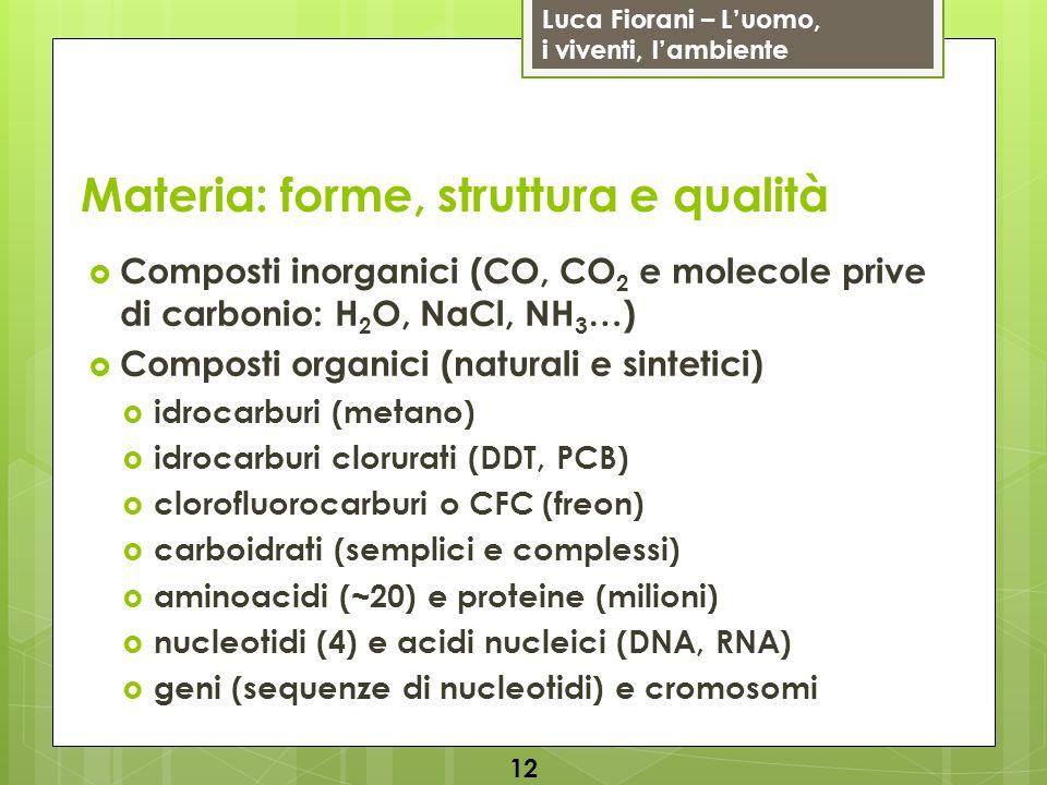 Luca Fiorani – Luomo, i viventi, lambiente Materia: forme, struttura e qualità Composti inorganici (CO, CO 2 e molecole prive di carbonio: H 2 O, NaCl, NH 3 …) Composti organici (naturali e sintetici) idrocarburi (metano) idrocarburi clorurati (DDT, PCB) clorofluorocarburi o CFC (freon) carboidrati (semplici e complessi) aminoacidi (~20) e proteine (milioni) nucleotidi (4) e acidi nucleici (DNA, RNA) geni (sequenze di nucleotidi) e cromosomi 12