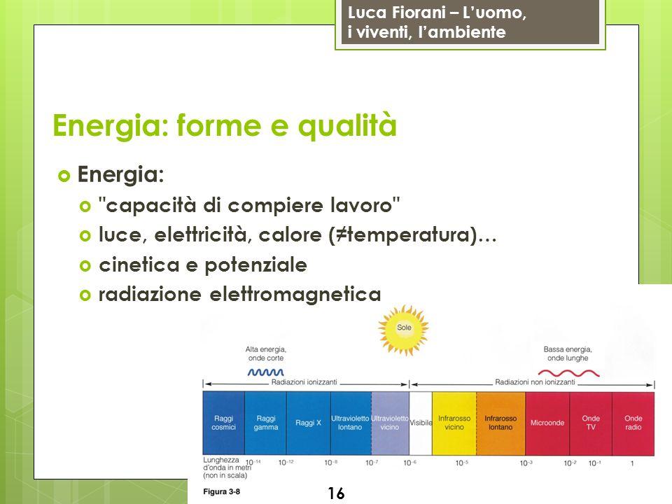 Luca Fiorani – Luomo, i viventi, lambiente Energia: forme e qualità Energia: capacità di compiere lavoro luce, elettricità, calore (temperatura)… cinetica e potenziale radiazione elettromagnetica 16