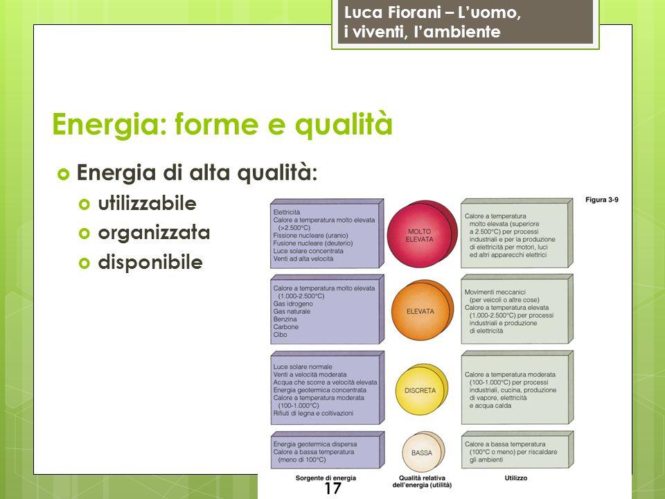 Luca Fiorani – Luomo, i viventi, lambiente Energia: forme e qualità Energia di alta qualità: utilizzabile organizzata disponibile 17