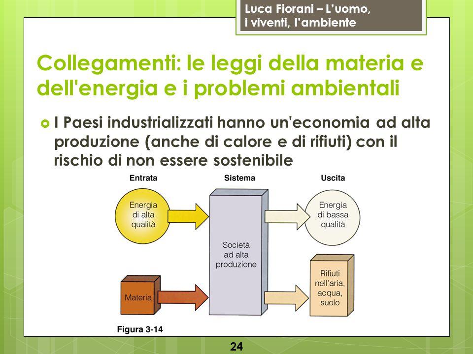 Luca Fiorani – Luomo, i viventi, lambiente Collegamenti: le leggi della materia e dell'energia e i problemi ambientali I Paesi industrializzati hanno
