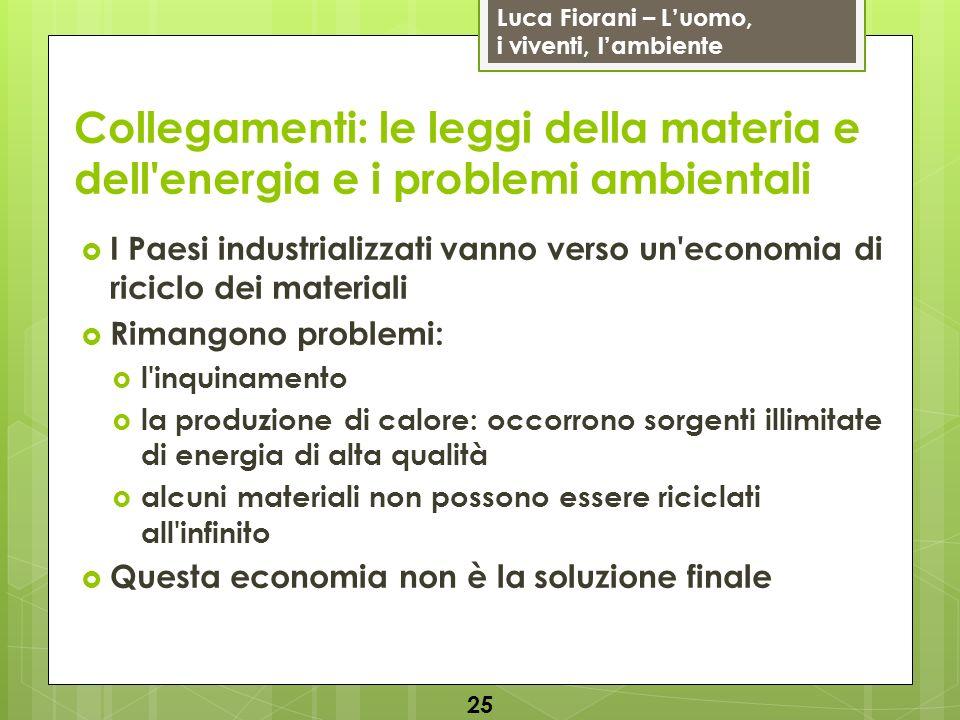 Luca Fiorani – Luomo, i viventi, lambiente Collegamenti: le leggi della materia e dell'energia e i problemi ambientali I Paesi industrializzati vanno