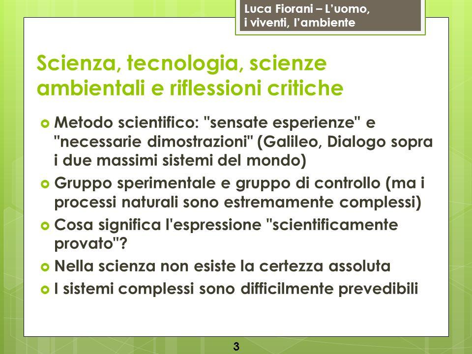 Luca Fiorani – Luomo, i viventi, lambiente Scienza, tecnologia, scienze ambientali e riflessioni critiche Metodo scientifico: