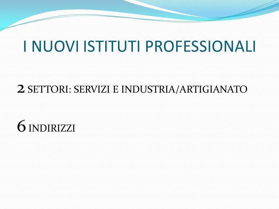 I NUOVI ISTITUTI PROFESSIONALI 2 SETTORI: SERVIZI E INDUSTRIA/ARTIGIANATO 6 INDIRIZZI