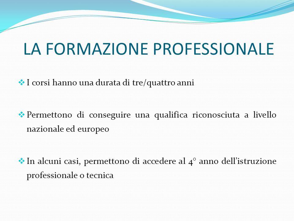 LA FORMAZIONE PROFESSIONALE I corsi hanno una durata di tre/quattro anni Permettono di conseguire una qualifica riconosciuta a livello nazionale ed europeo In alcuni casi, permettono di accedere al 4° anno dellistruzione professionale o tecnica