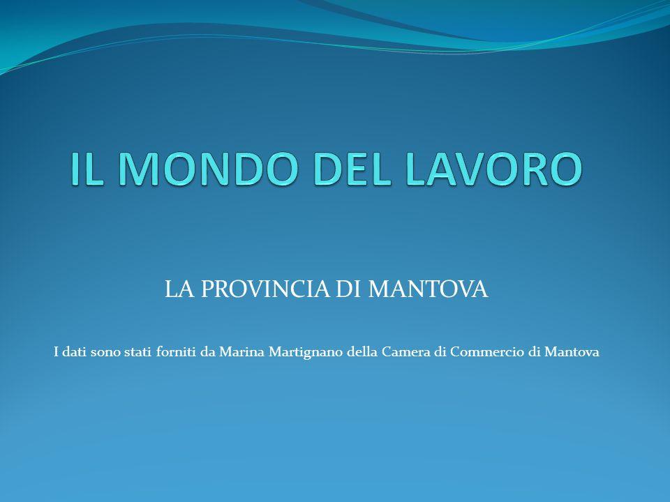 LA PROVINCIA DI MANTOVA I dati sono stati forniti da Marina Martignano della Camera di Commercio di Mantova