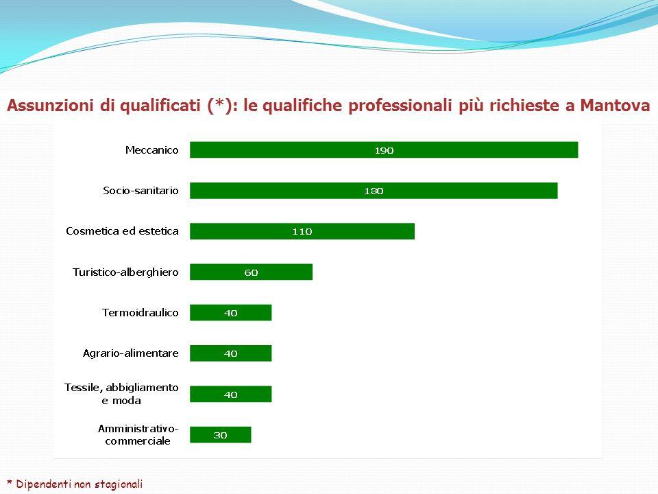 Assunzioni di qualificati (*): le qualifiche professionali più richieste a Mantova * Dipendenti non stagionali