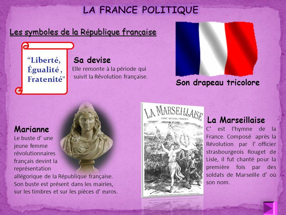 Son drapeau tricolore Liberté, Égualité, Fratenité La Marseillaise C est lhymne de la France. Composé après la Révolution par l officier strasbourgeoi