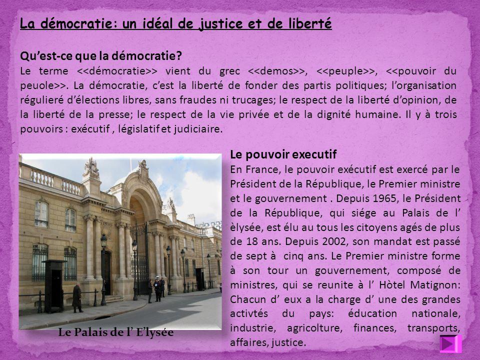 La démocratie: un idéal de justice et de liberté Quest-ce que la démocratie? Le terme <<démocratie>> vient du grec <<demos>>, <<peuple>>, <<pouvoir du