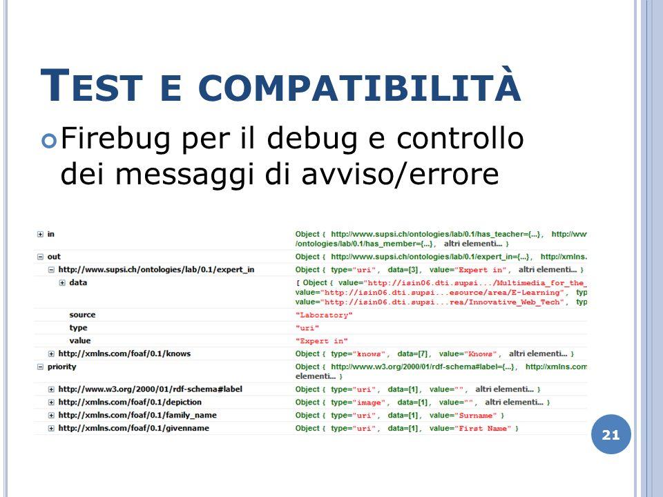 T EST E COMPATIBILITÀ Firebug per il debug e controllo dei messaggi di avviso/errore 21