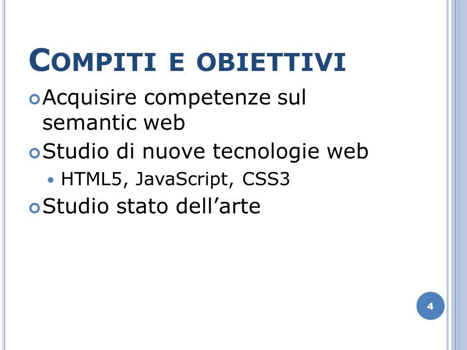 C OMPITI E OBIETTIVI Acquisire competenze sul semantic web Studio di nuove tecnologie web HTML5, JavaScript, CSS3 Studio stato dellarte 4
